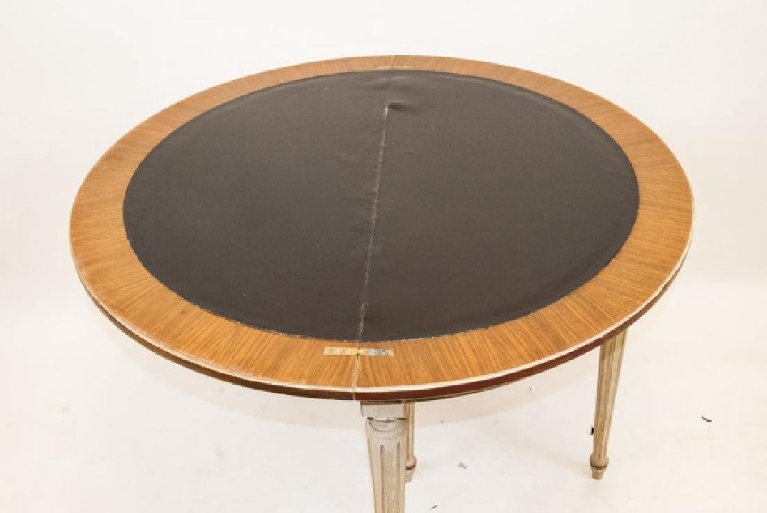 Leather Top Louis XVI Style Demi Lune Table - 3