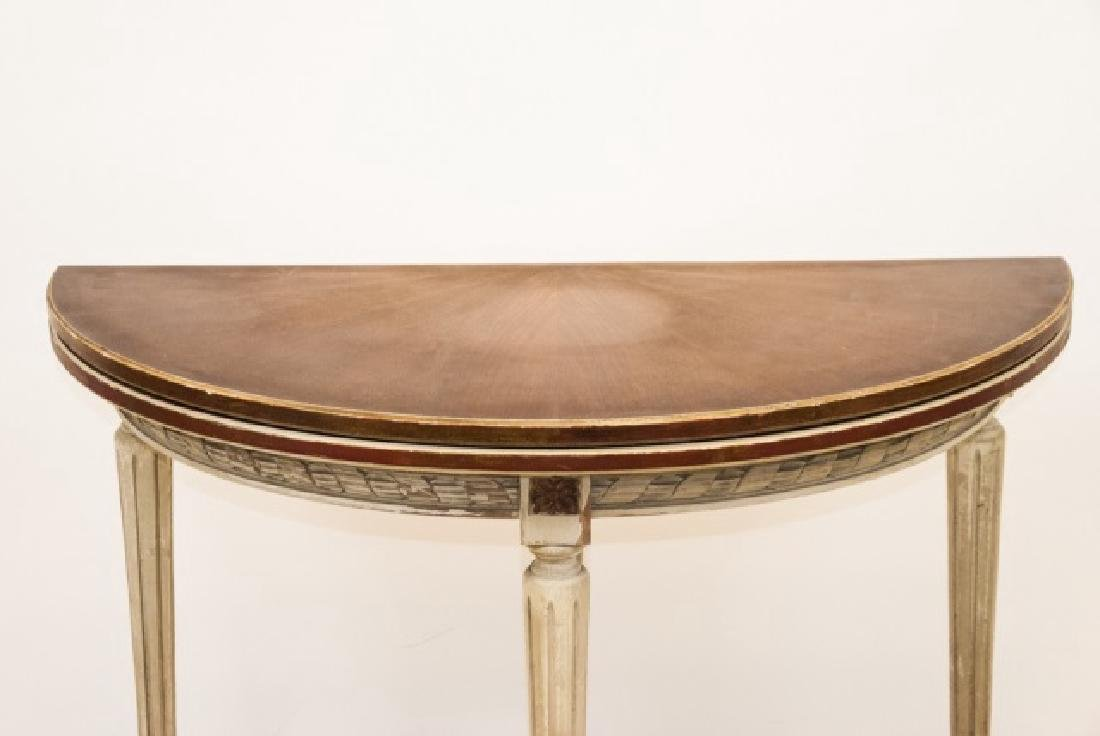 Leather Top Louis XVI Style Demi Lune Table - 4