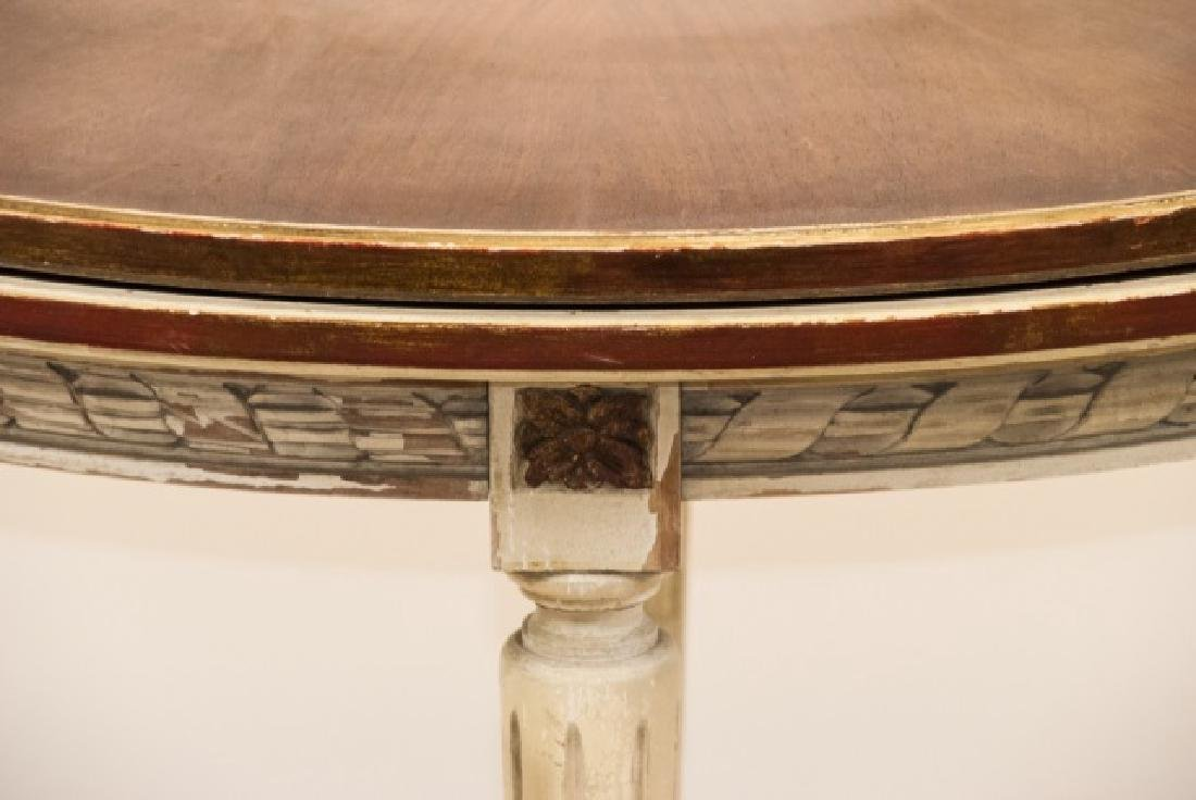 Leather Top Louis XVI Style Demi Lune Table - 5