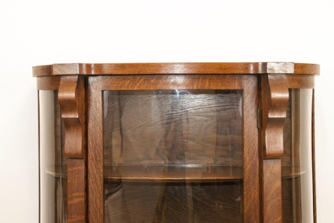 Antique C 1900 Oak & Glass Curio Cabinet - 3