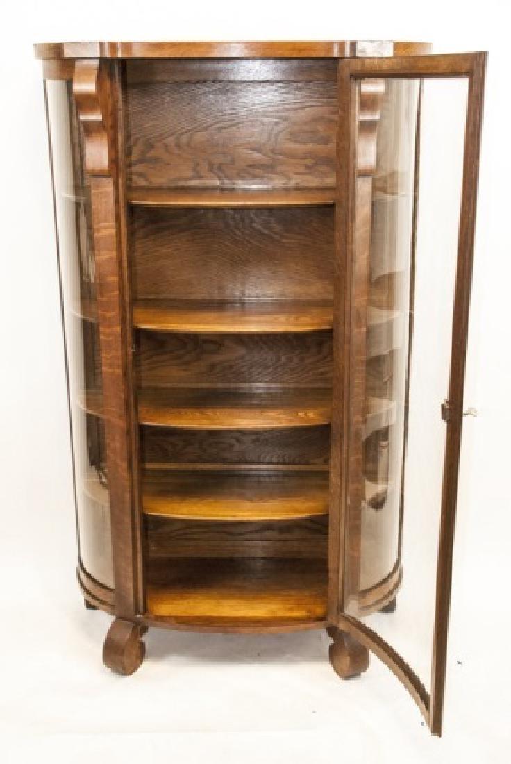 Antique C 1900 Oak & Glass Curio Cabinet - 4