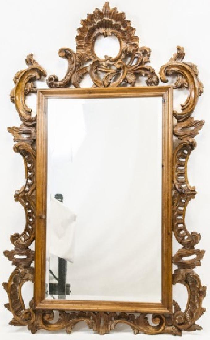 French Rococo Style Carved Pine Wall Mirror
