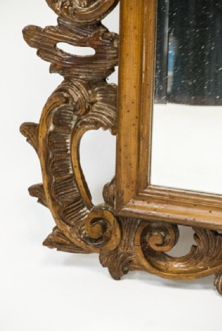 French Rococo Style Carved Pine Wall Mirror - 3