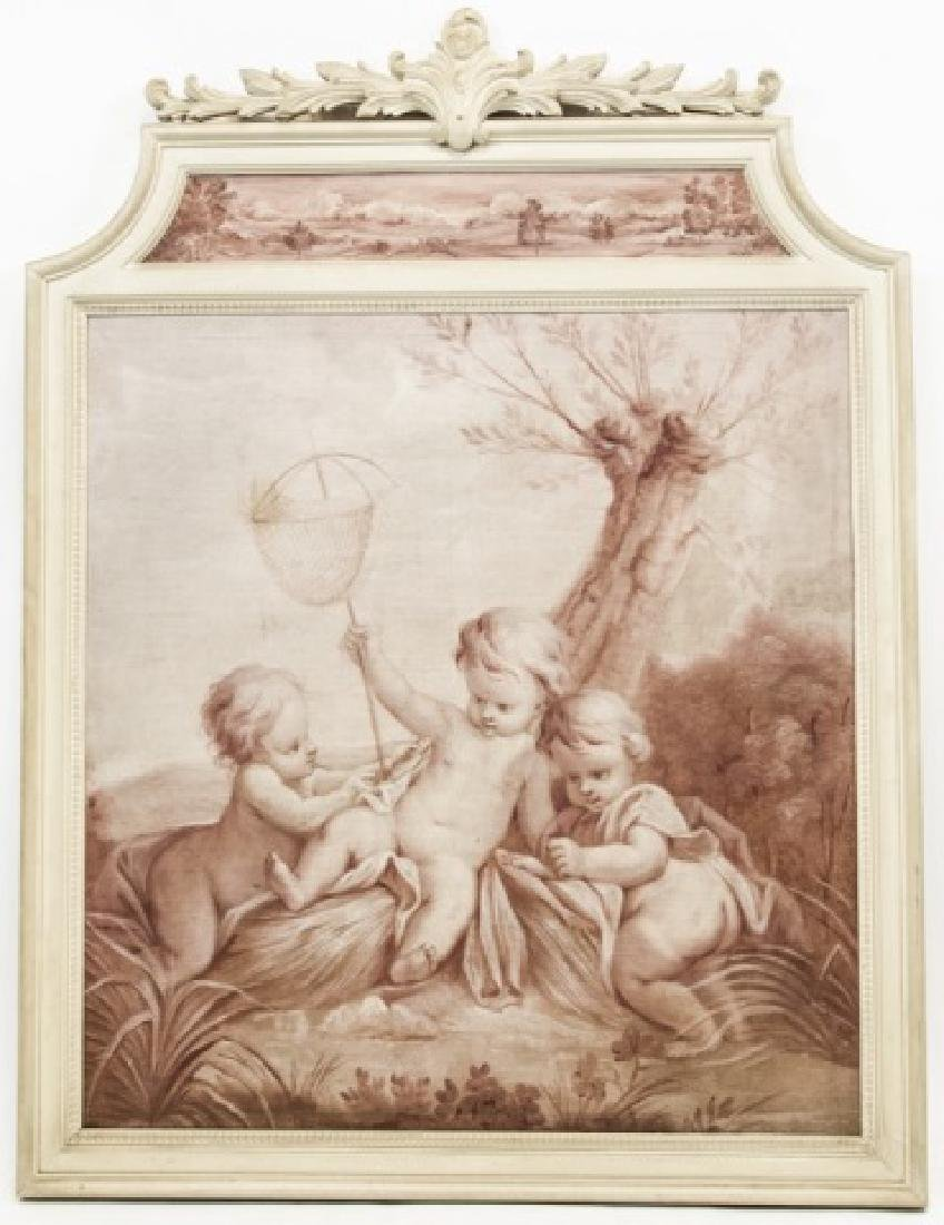 Antique 19th Century French Oil on Canvas Cherubs