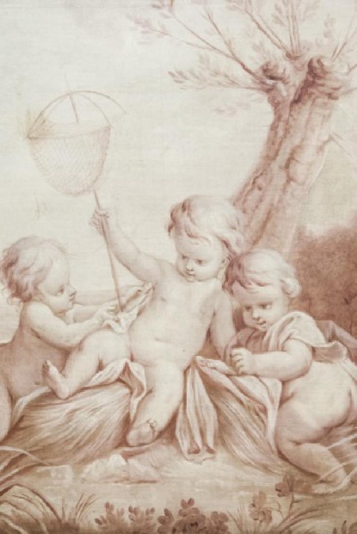 Antique 19th Century French Oil on Canvas Cherubs - 2