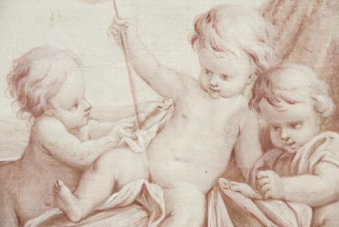 Antique 19th Century French Oil on Canvas Cherubs - 5