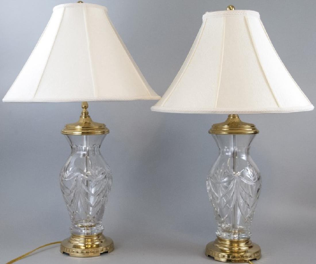 Pair Waterford Table Lamps w/ Waterford Shades