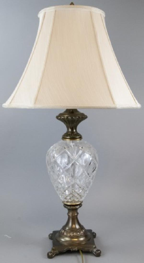 Waterford Bronze Tone Lamp w/ Waterford Shade