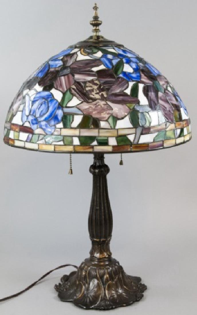 Tiffany Style Bronze Tone Lamp Stained Glass Shade