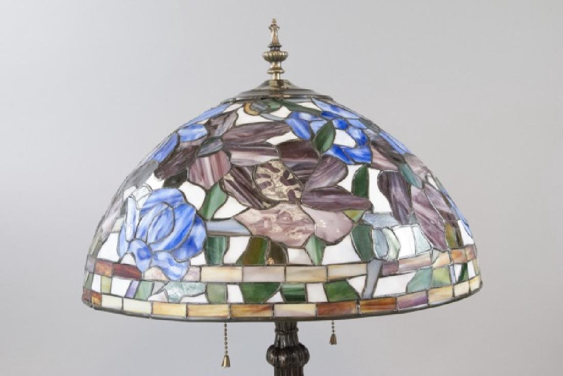 Tiffany Style Bronze Tone Lamp Stained Glass Shade - 2