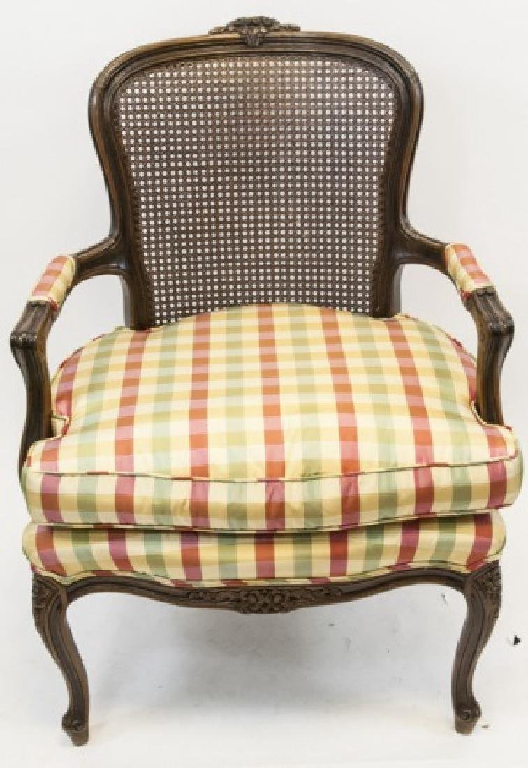 Hand Carved French Provincial Caned Arm Chair