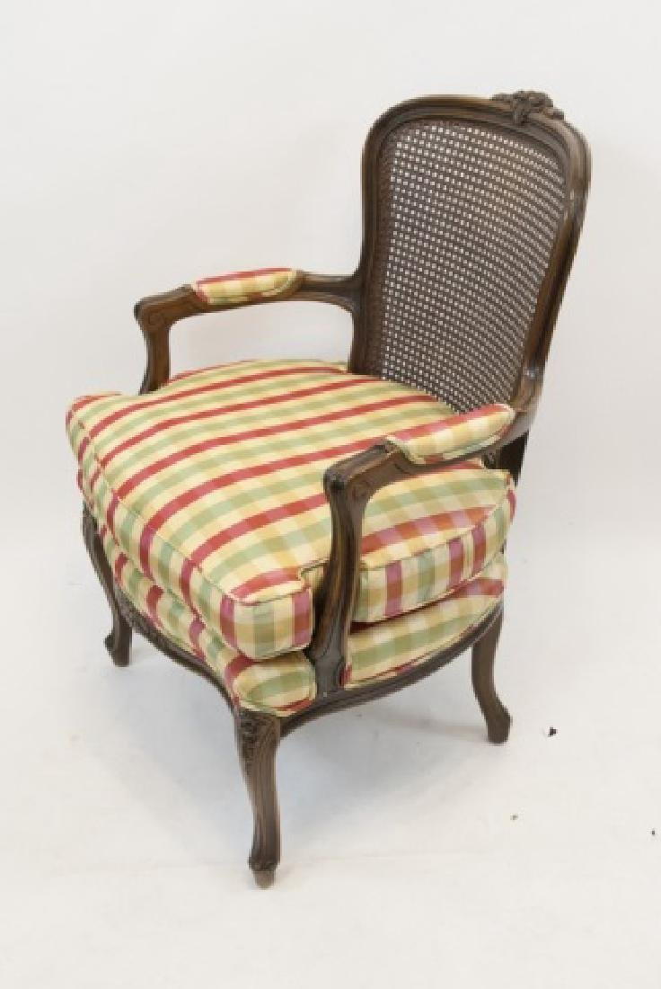 Hand Carved French Provincial Caned Arm Chair - 4