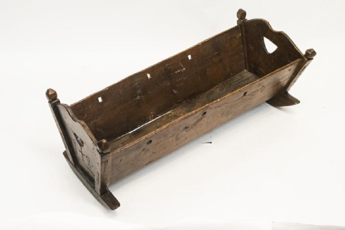 Antique Swiss German C 1821 Carved Cradle