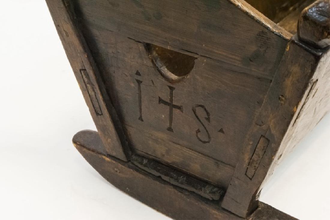 Antique Swiss German C 1821 Carved Cradle - 5