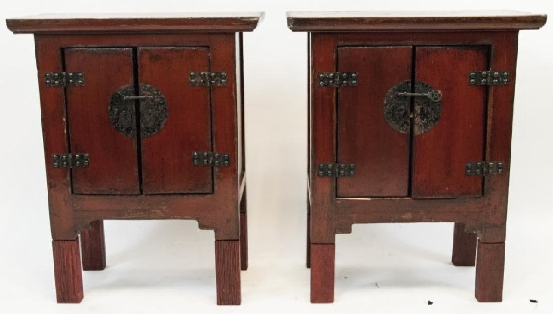 Pair Chinese Style Antique Finish Red Night Stands