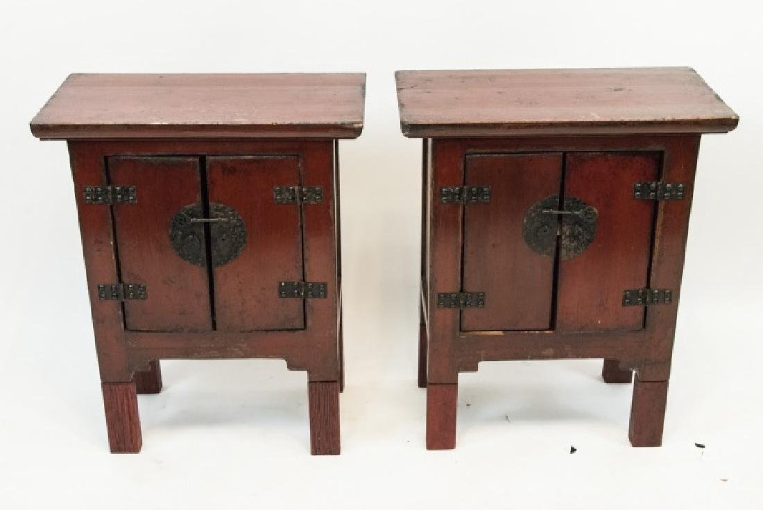 Pair Chinese Style Antique Finish Red Night Stands - 2