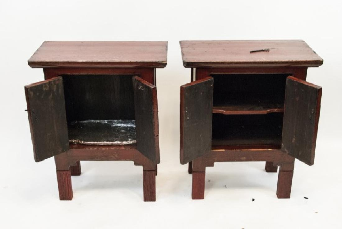 Pair Chinese Style Antique Finish Red Night Stands - 4