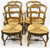 Set French Country Ladder Back Dining Chairs