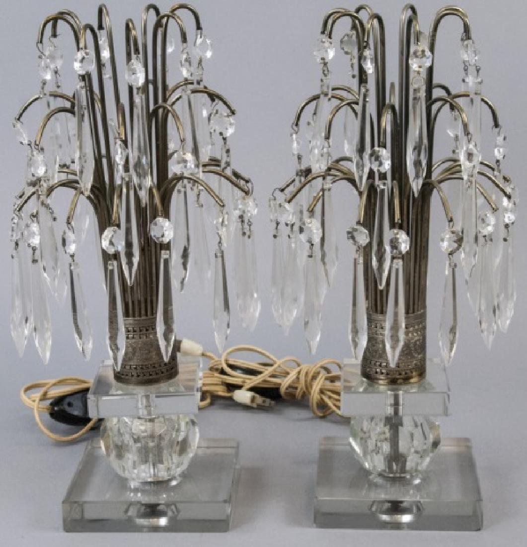 Pair Vintage Crystal & Silver Plate Torchieres