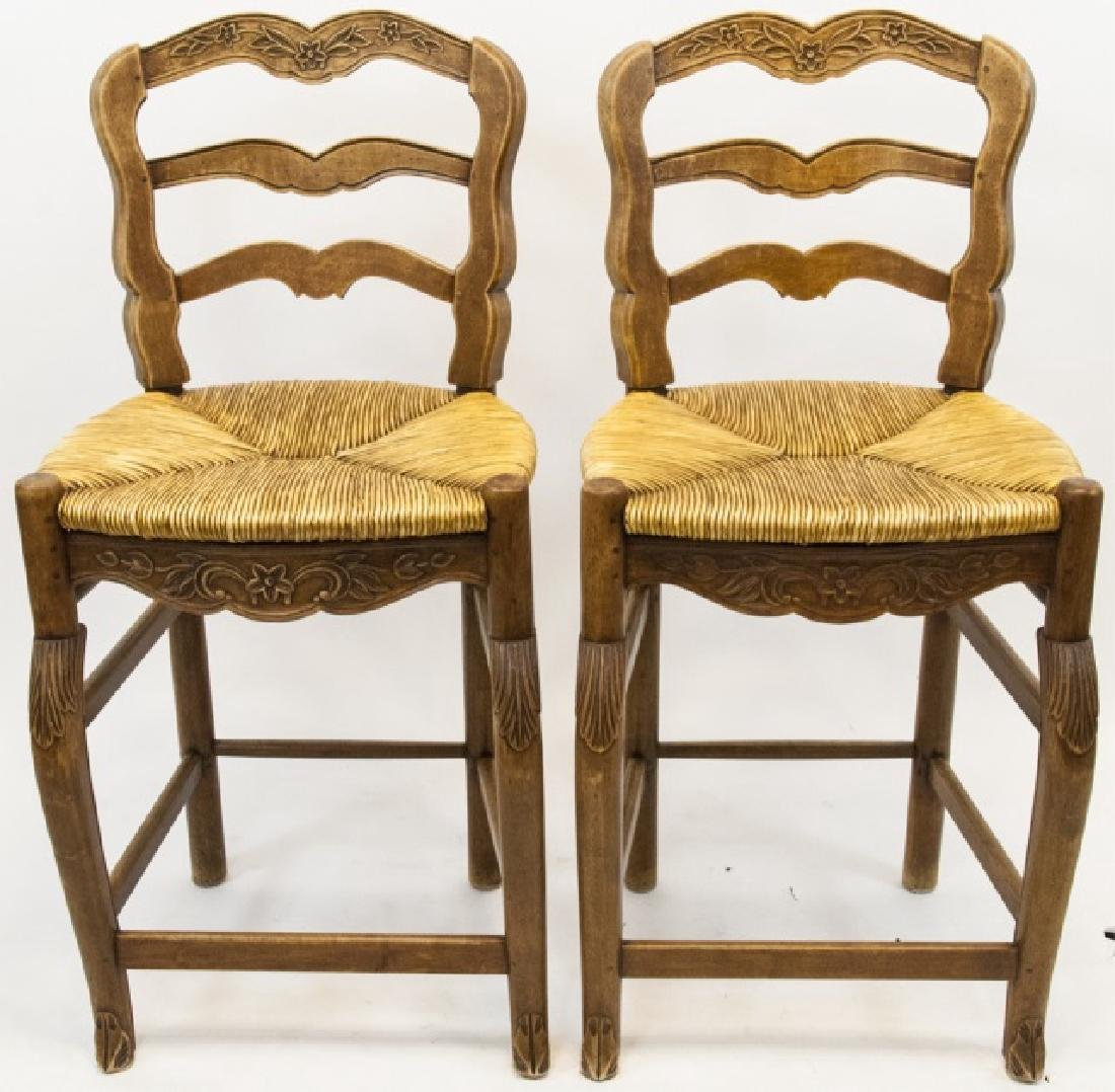 Pair French Country Ladder Back Bar Stools - 4
