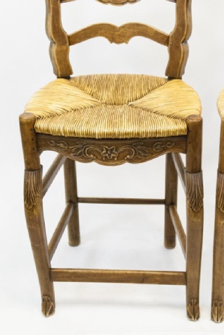 Pair French Country Ladder Back Bar Stools - 6