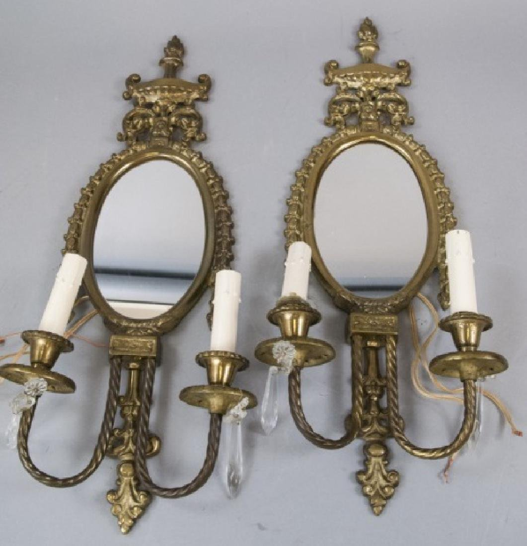 Pair Gilt Metal Double Arm Sconces w Mirrors