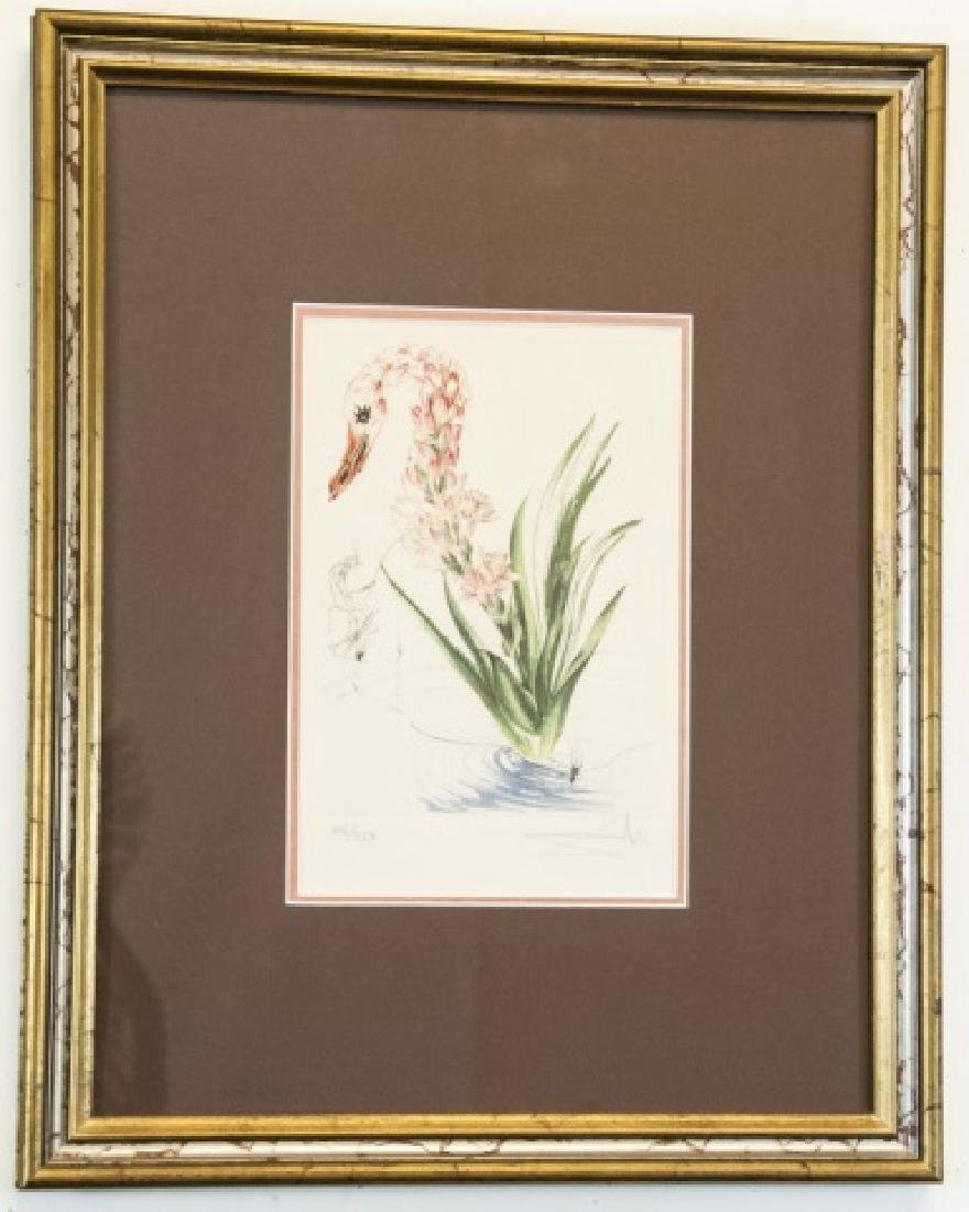 Salvador Dali Water Hibiscus & Swan Lithograph