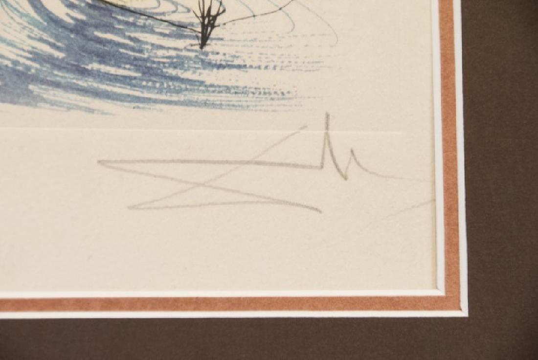 Salvador Dali Water Hibiscus & Swan Lithograph - 3