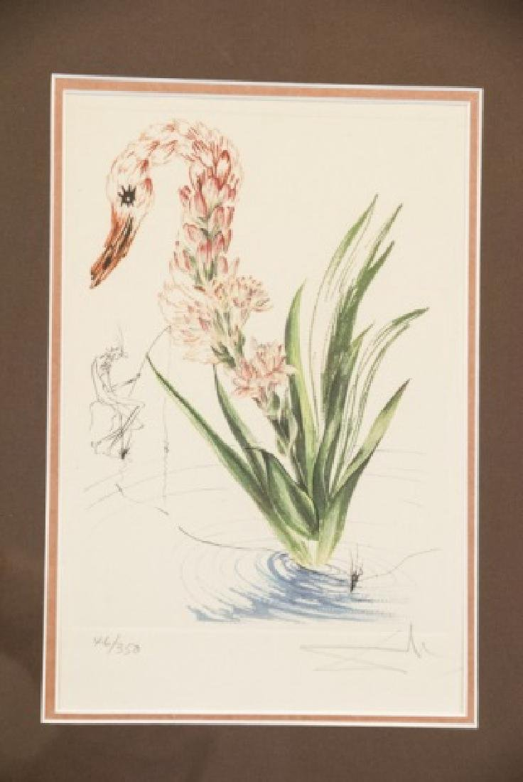 Salvador Dali Water Hibiscus & Swan Lithograph - 5