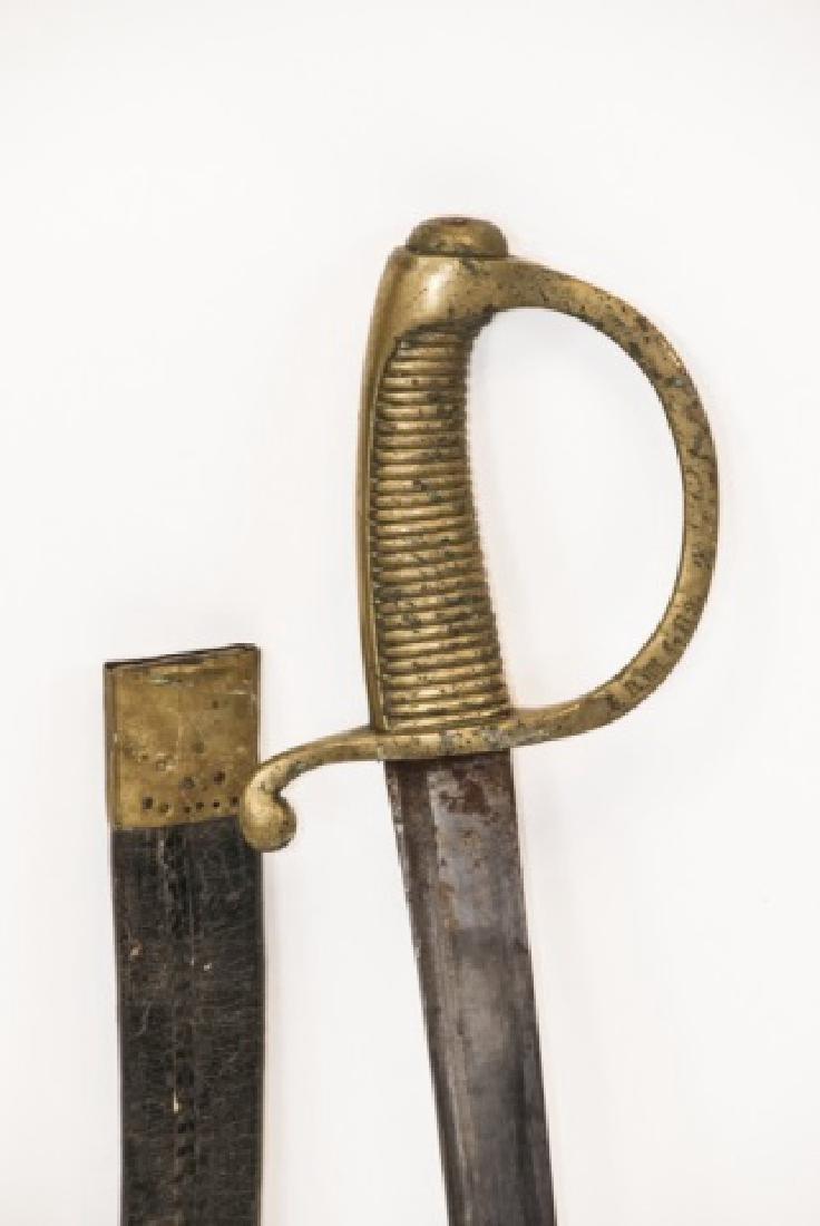 Antique 19th C Spanish Sword in Leather Sheath - 4