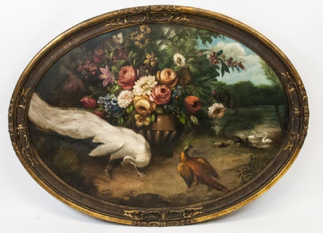 Jean Bizet Large 19th C White Peacock Oil Painting