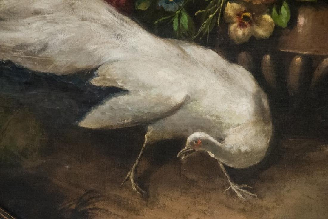 Jean Bizet Large 19th C White Peacock Oil Painting - 3