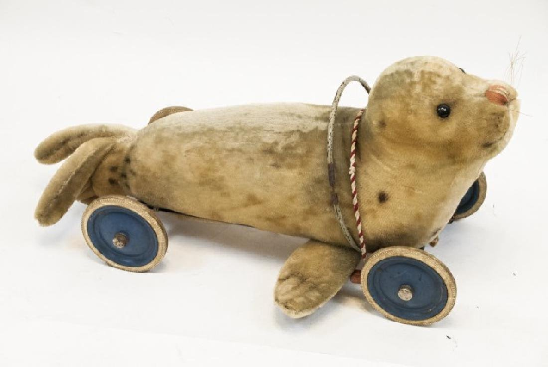 Antique German Steiff Seal Pull Toy / Ride On Toy