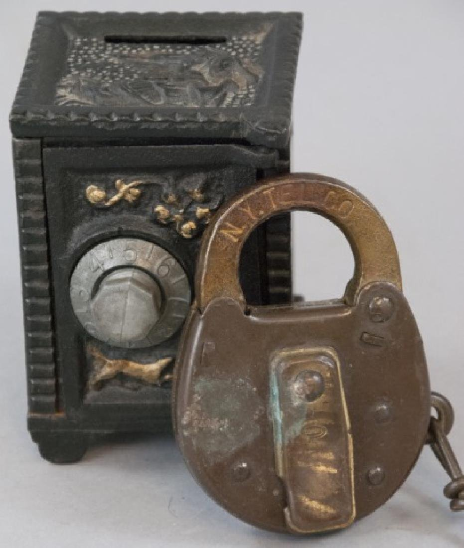 Antique NY Telephone Padlock & Toy Bank