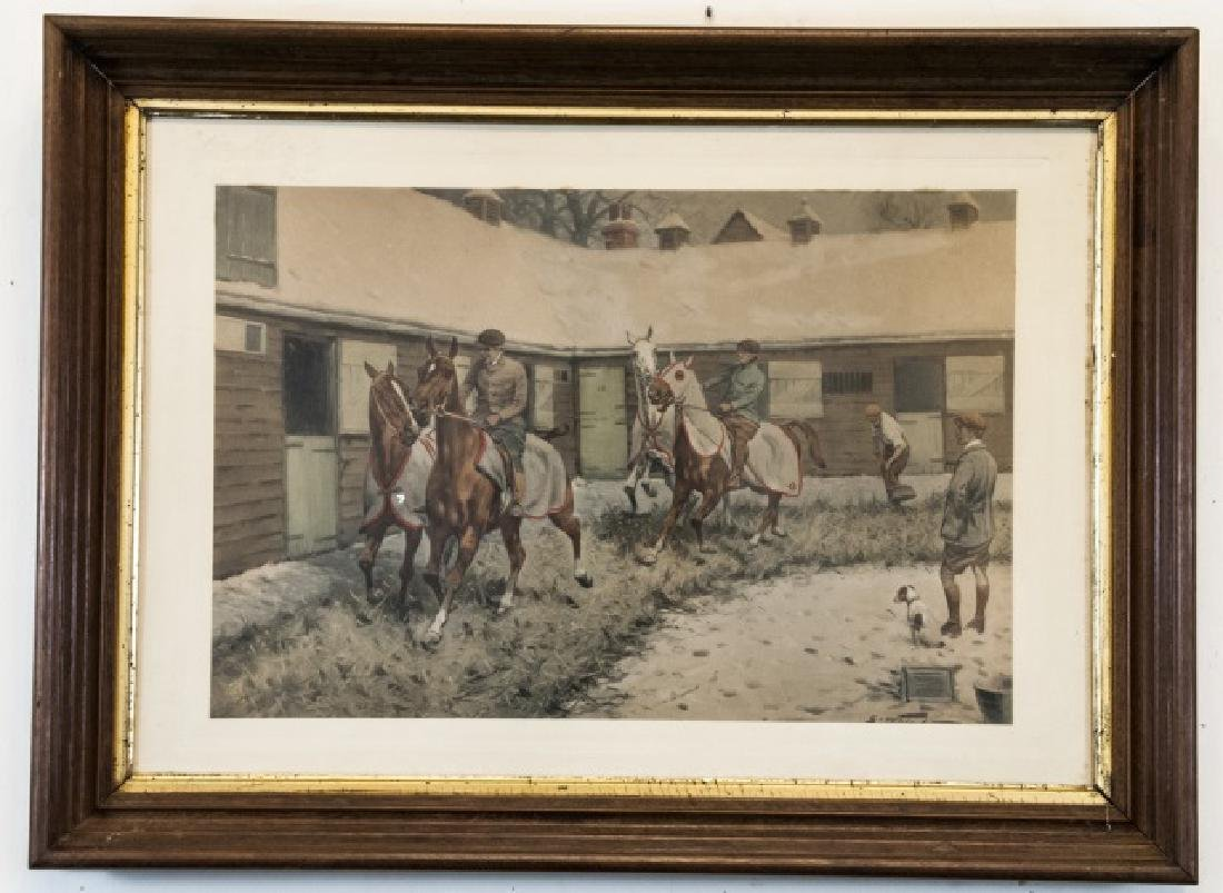 Antique 19th C Equestrian Watercolor Painting