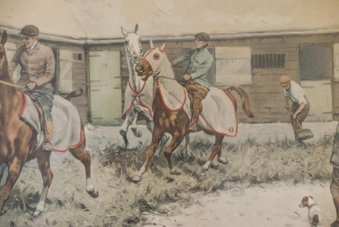 Antique 19th C Equestrian Watercolor Painting - 2
