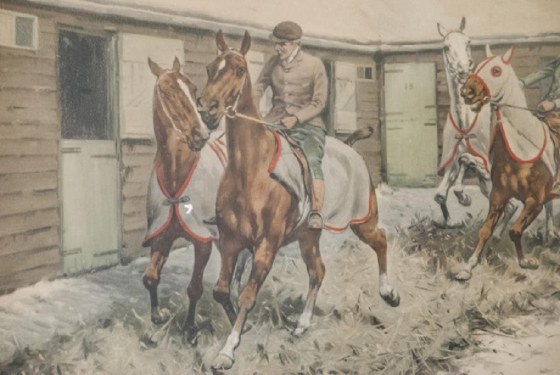 Antique 19th C Equestrian Watercolor Painting - 5