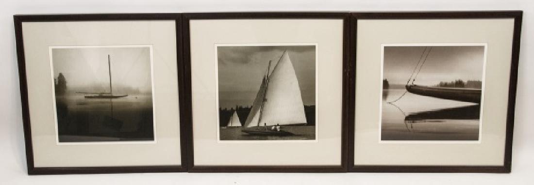 Three Framed Black & White Boat Photographs