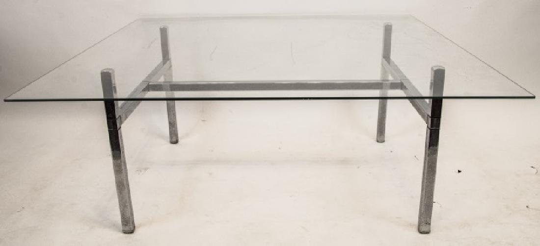 Mid Century Glass & Chrome Coffee Table - 2