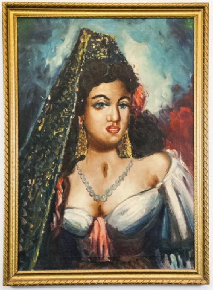 Vintage Oil On Canvas Persian Woman Portrait