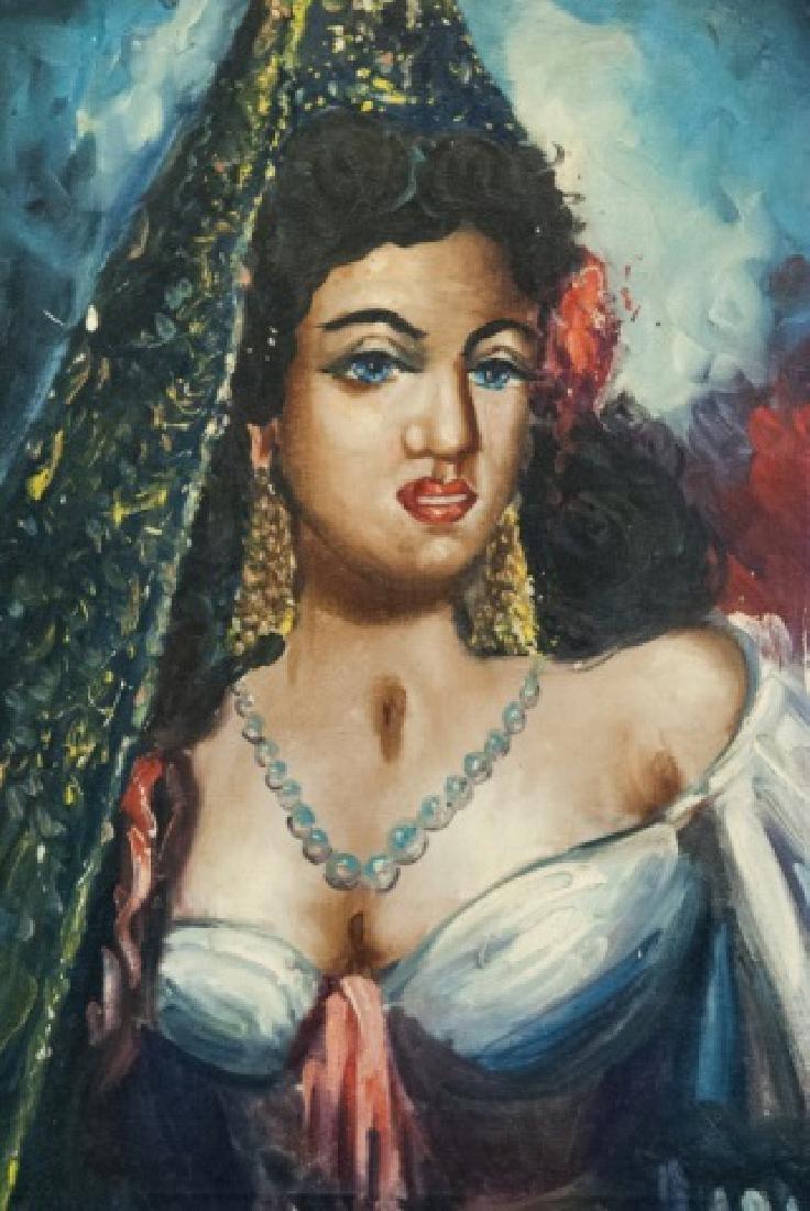Vintage Oil On Canvas Persian Woman Portrait - 2