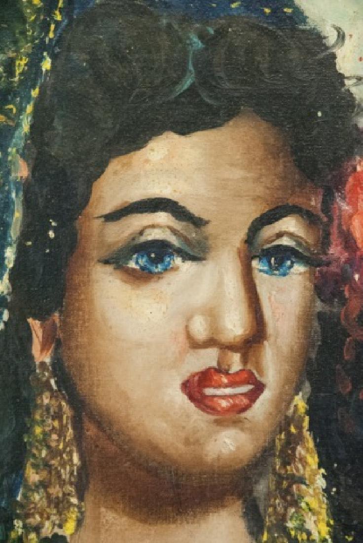 Vintage Oil On Canvas Persian Woman Portrait - 3