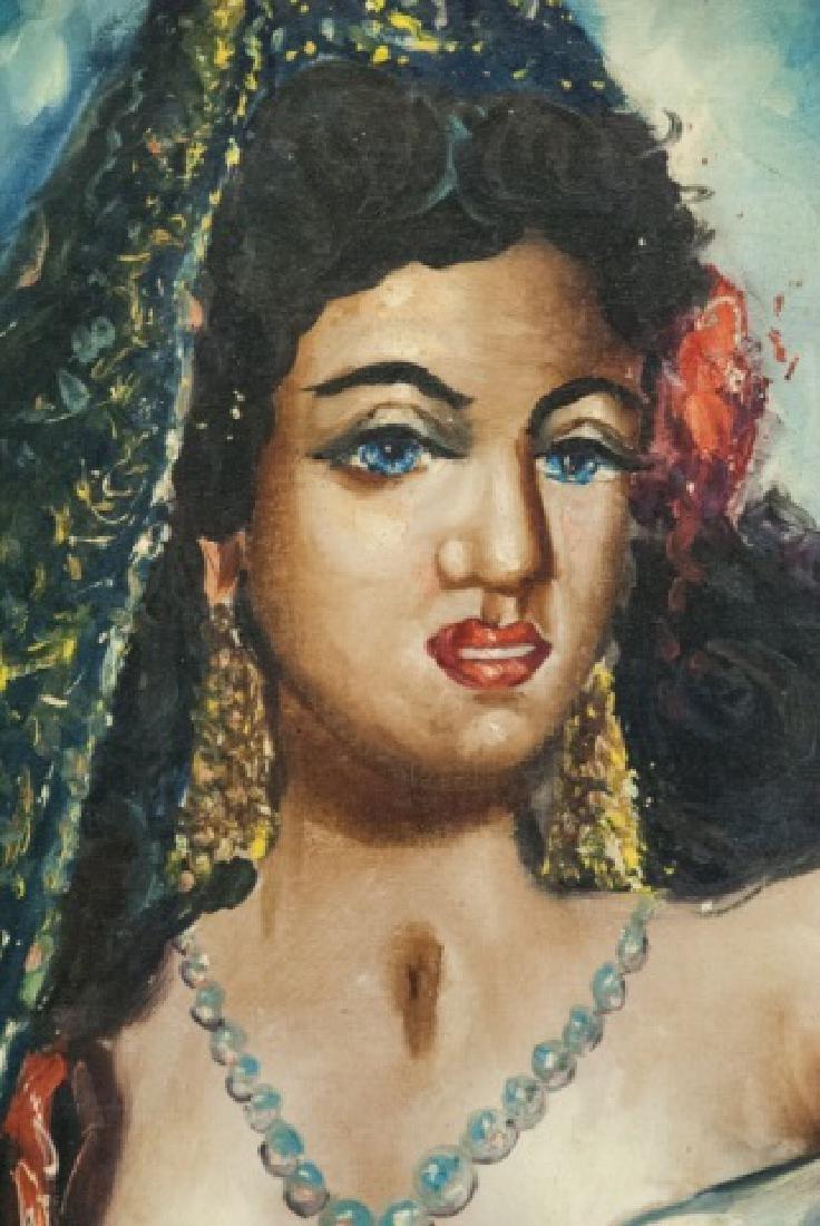 Vintage Oil On Canvas Persian Woman Portrait - 4