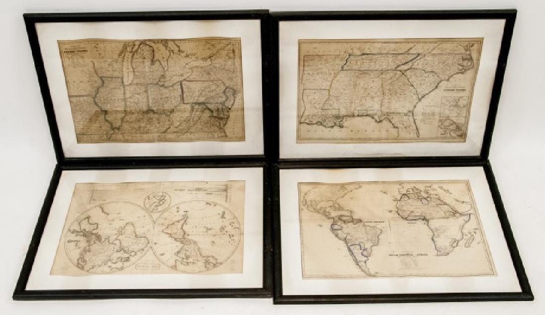 4 19th Century Maps The World, North/South U.S.