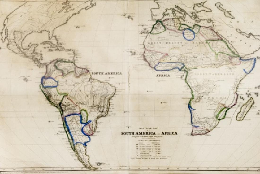 4 19th Century Maps The World, North/South U.S. - 4