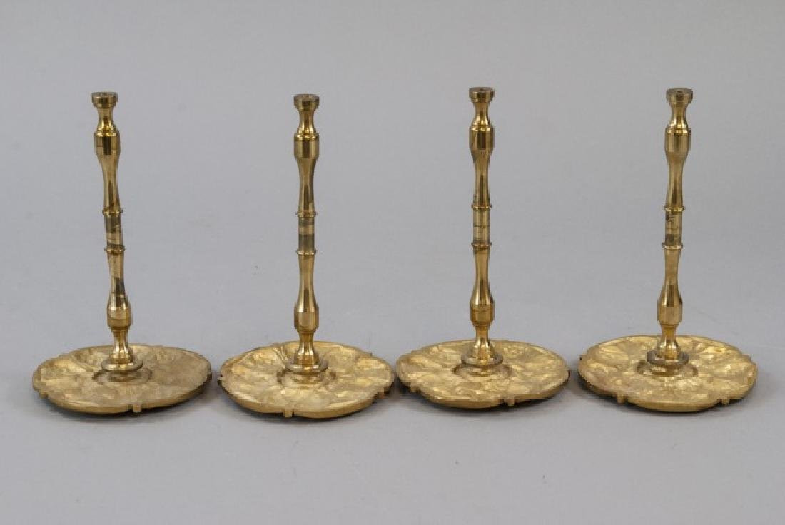 Two Pairs Of Brass Ornate Curtain Rod Ends