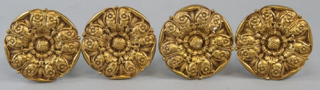 Two Pairs Of Brass Ornate Curtain Rod Ends - 2