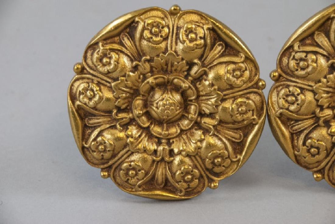Two Pairs Of Brass Ornate Curtain Rod Ends - 3