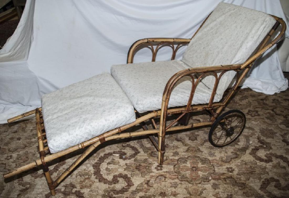 Bamboo Chaise Lounge Chair W/ Cushions On Wheels