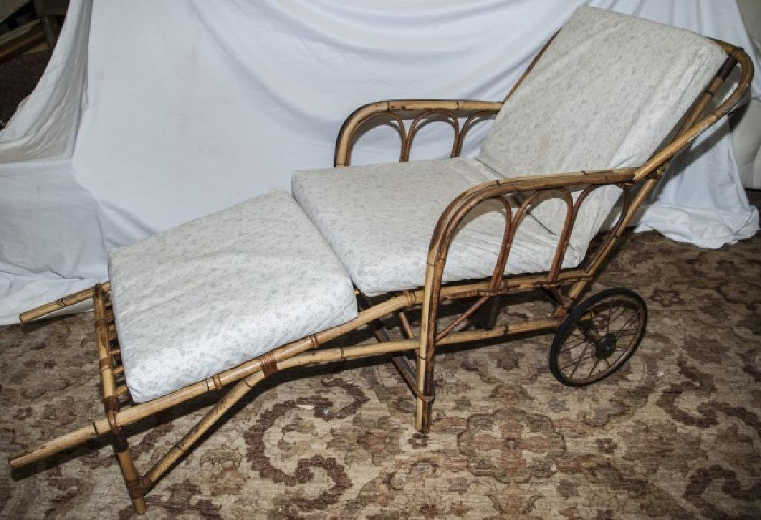 Bamboo Chaise Lounge Chair W/ Cushions On Wheels